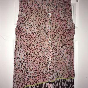 Cabi beguile sheer animal print tank blouse